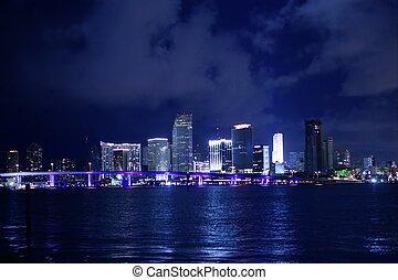 miami, céntrico, noche, agua, ciudad, reflexión