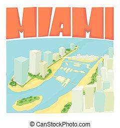 Miami city concept, cartoon style