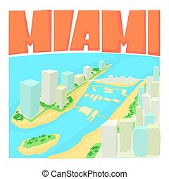 Miami city concept, cartoon style