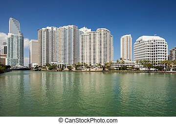 Miami city Florida, USA, view of downtown financial buildings and Brickell key on a summer day with blue sky