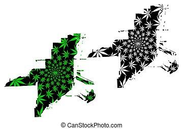 Miami city - map is designed cannabis leaf