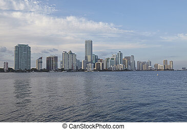 Miami city skyline panorama at day