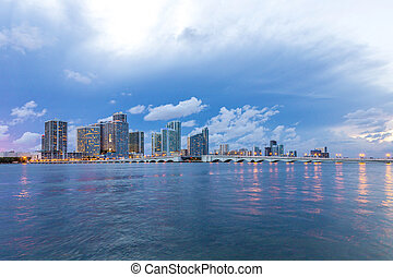 Miami city skyline panorama at dusk