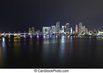 Miami city skyline panorama at night