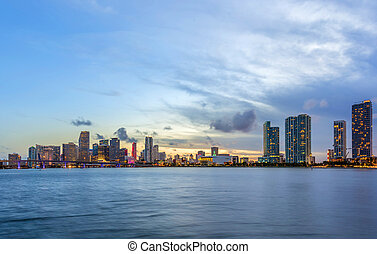 Miami city skyline panorama at night