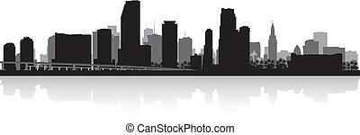 Miami city skyline silhouette - Miami USA city skyline...