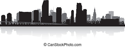 Miami city skyline silhouette - Miami USA city skyline ...