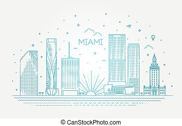 Miami city skyline, vector illustration