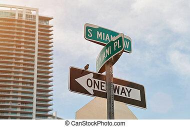 Miami city street sign