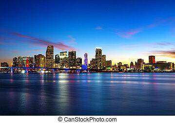miami, ciudad, noche
