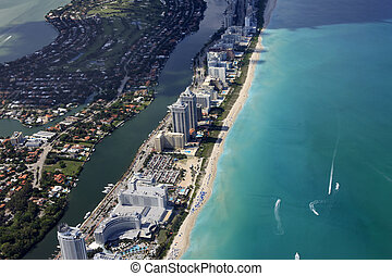 Miami coastline seen from high altitude