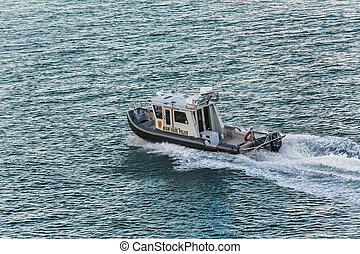 miami, dade, policía, barco