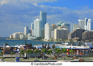 Miami day, Florida - Urban life in Miami town ,Florida , USA...