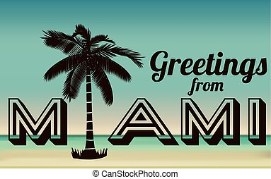 Miami design over beachscape background, vector illustration