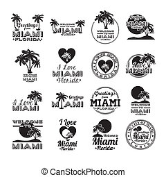 Miami design over white background, vector illustration