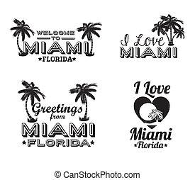 Miami design over white background, vector illustration