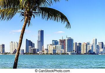 Miami Downtown skyline in daytime with Biscayne Bay.
