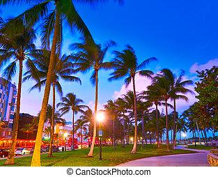 miami, flórida, conduzir, oceânicos, praia ocaso, sul
