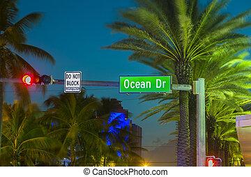 miami, flórida, conduzir, sinal, oceano ocaso, praia, sul