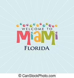 miami, flórida, illustration., vetorial, projeto gráfico