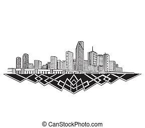 Miami, FL Skyline. Black and white vector illustration EPS...