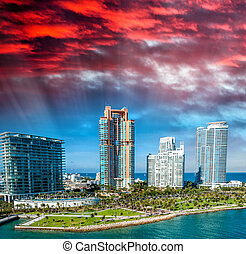 Miami, Florida. Beautiful city skyline at dusk
