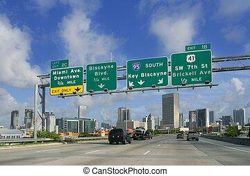 miami, florida, belvárosi, kulcs, cégtábla, biscayne, út