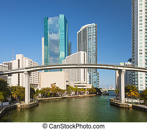 Miami Florida, Brickell and downtown financial buildings and...