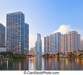 Miami Florida, Brickell and downtown financial buildings...