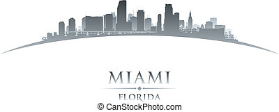 Miami Florida city skyline silhouette white background -...