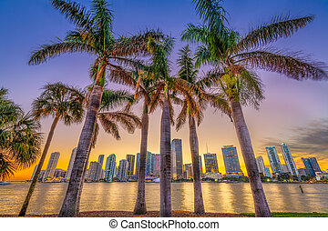Miami, Florida, Coastal Skyline - Miami, Florida, USA...