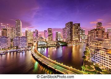 Miami, Florida Night Skyline - Miami, Florida, USA downtown...