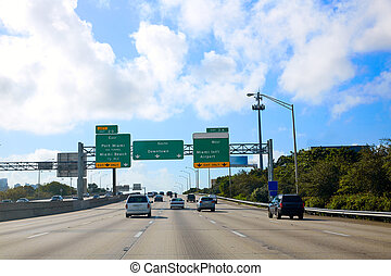 Miami Florida road sign to Downtown US