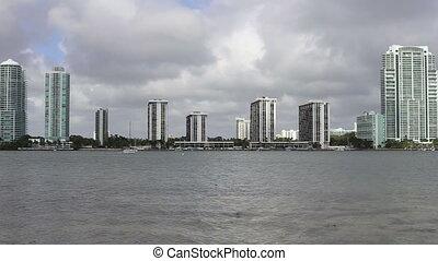 Miami Florida Skyline and ocean view - Miami Florida skyline...