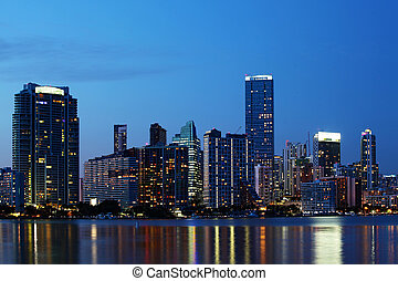 Miami, Florida skyline at dusk