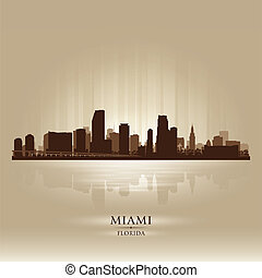 Miami, Florida skyline city silhouette
