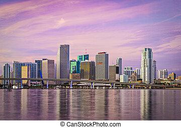 Miami Florida Skyline - Miami, Florida skyline at Biscayne...