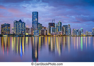 Miami Florida Skyline - Miami, Florida skyline at Biscayne...