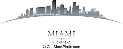 miami, florida, stad skyline, silhouette, witte achtergrond