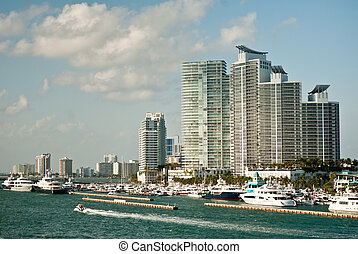 Miami, Florida - Modern buildings and yacht club in Miami,...