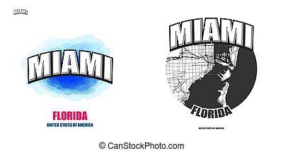Miami, Florida, two logo artworks