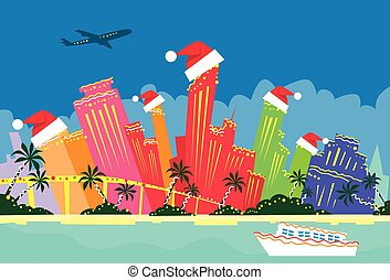 Miami Florida United States Abstract Skyline City Skyscraper Christmas Silhouette New Year