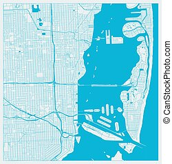 Miami, Florida, US City Map in Blue Colors. Outline Map.