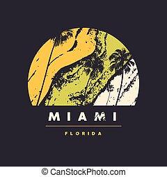 Miami Florida vector graphic t-shirt design, poster, print.