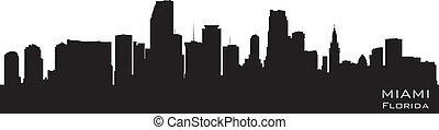 miami, floryda, skyline., szczegółowy, wektor, sylwetka