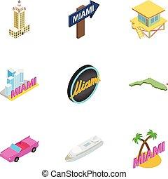 Miami holidays icons set, isometric 3d style