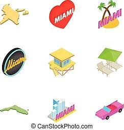 Miami icons set, isometric 3d style