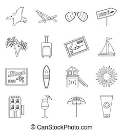 Miami icons set, outline style
