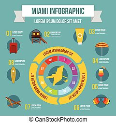 Miami infographic concept, flat style