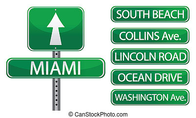 Miami main street signs isolated over white
